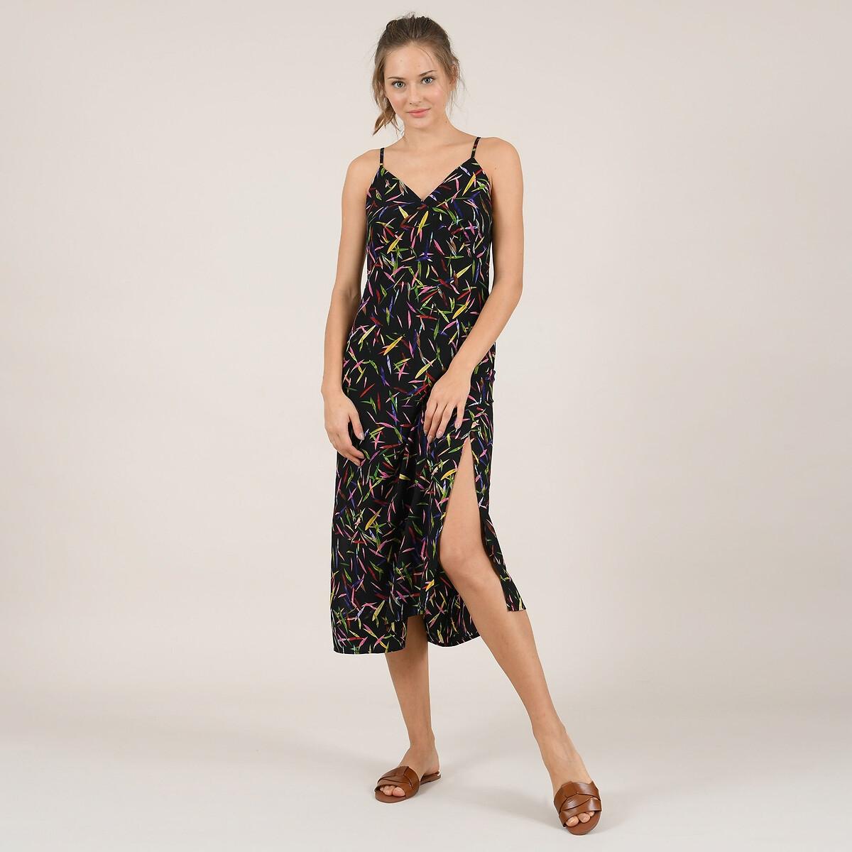 Платье-миди La Redoute С рисунком V-образным вырезом и глубоким сзади XS черный