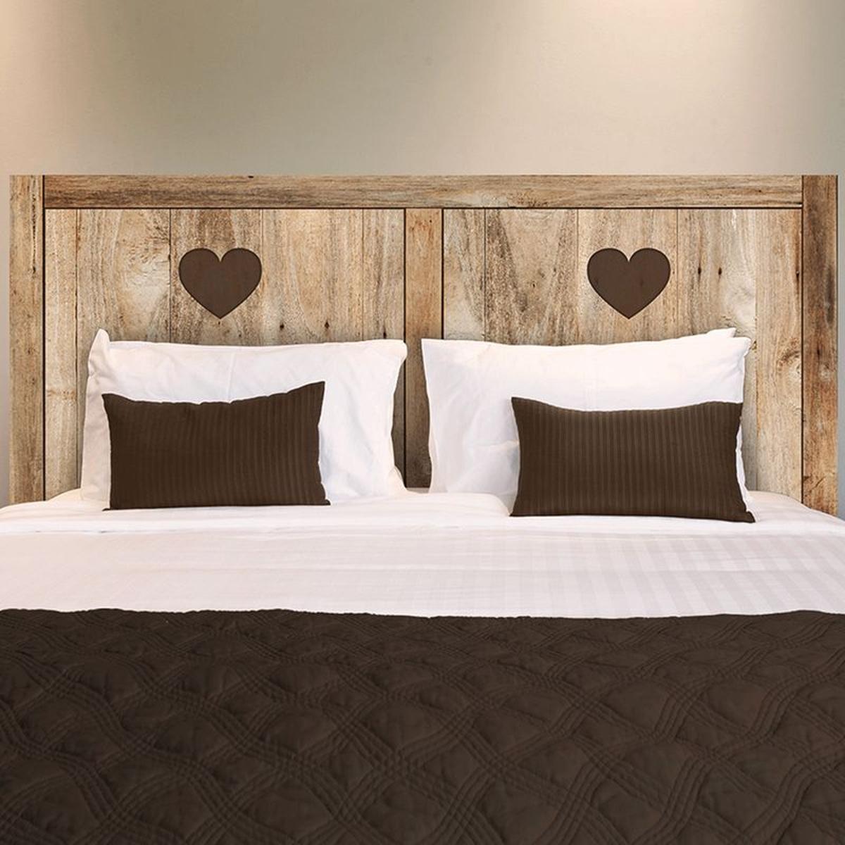 Autocollant tête de lit planches de bois