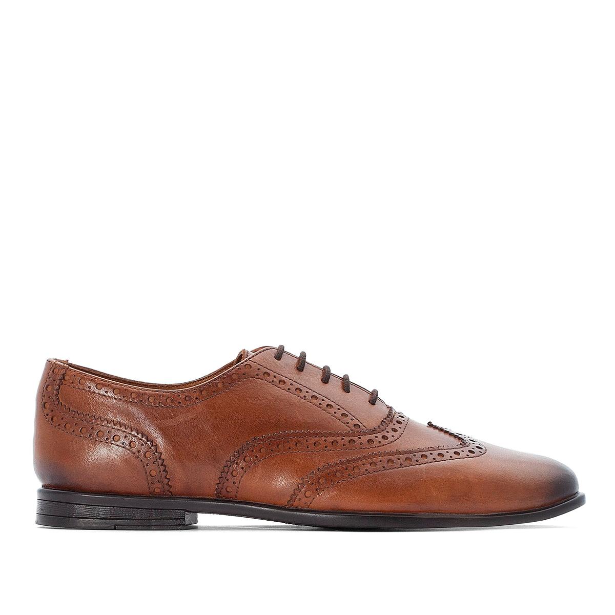 цена Ботинки-дерби La Redoute Кожаные на шнуровке 45 каштановый онлайн в 2017 году
