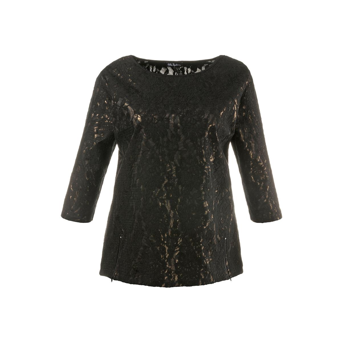 ПуловерыПуловер-свитшот с модным металлическим отливом и кружевом . Свободный закругленный вырез . Закругленный низ с застежкой на молнию, спинка длиннее на 6 см. . Рукава 3/4. Длина, в зависимости от размера, от 72 до 82 см.<br><br>Цвет: черный