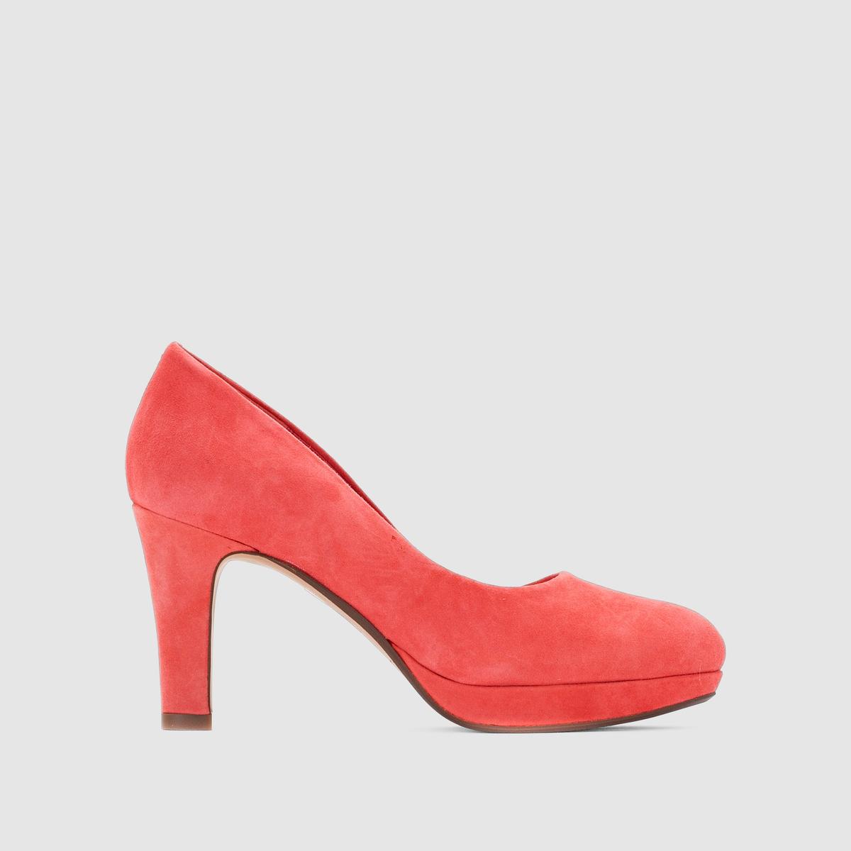 Туфли на тонком каблуке CLARKS CRISP KENDRAВысота каблука : 8,5 см.Застежка : без застежки.Преимущества: садящаяся по ноге модель, очень элегантная, на танкетке<br><br>Цвет: коралловый<br>Размер: 39