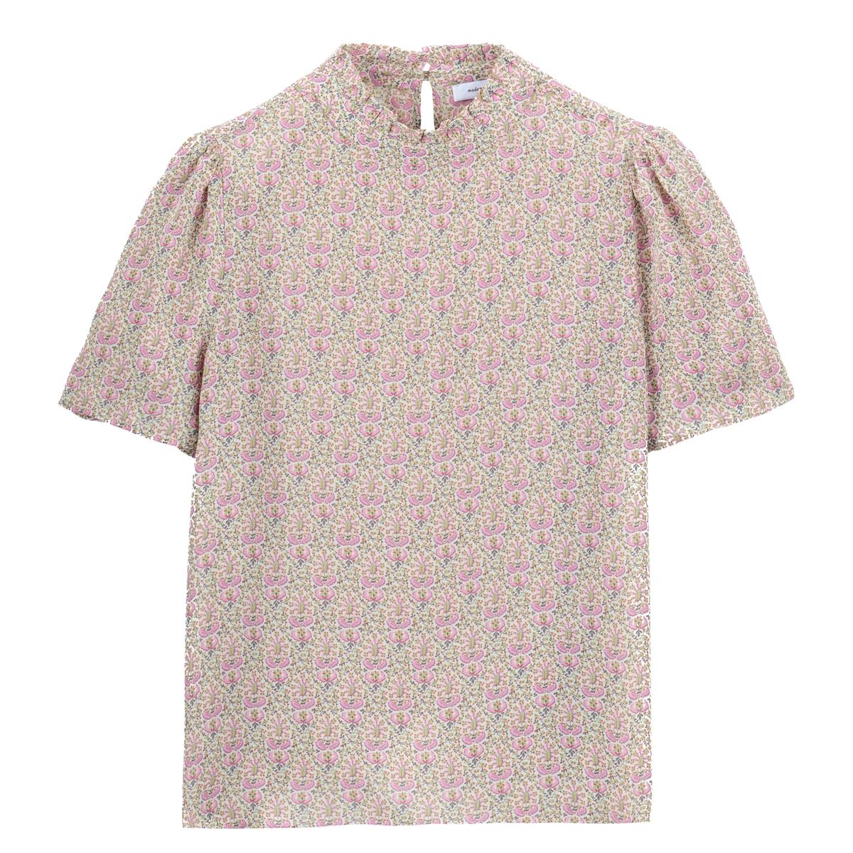 Blusa con cuello alto y estampado de flores, de manga corta