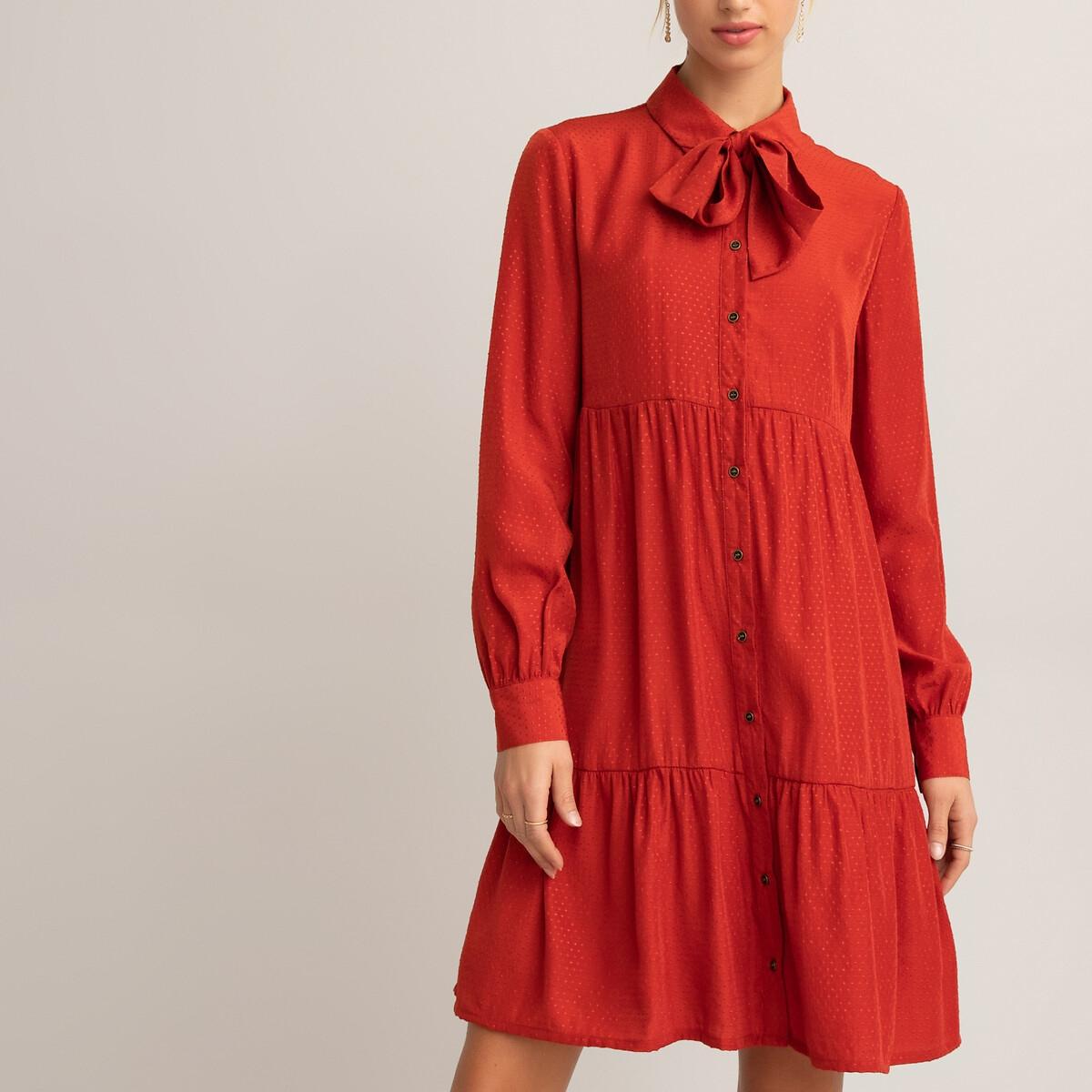 Платье LaRedoute Расклешенное короткое с длинными рукавами 44 (FR) - 50 (RUS) оранжевый платье la redoute расклешенное короткое с длинными рукавами 46 fr 52 rus синий