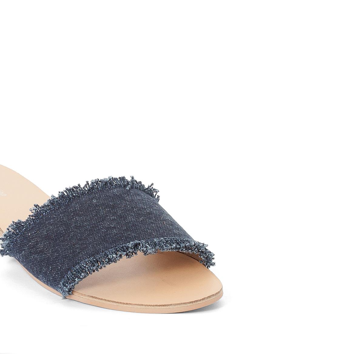 Туфли без задника тканевыеДетали •  Сандалии без задника •  Застежка : без застежки •  Открытый мысок •  Гладкая отделкаСостав и уход • Верх 100% хлопок •  Подкладка 100% хлопок<br><br>Цвет: синий<br>Размер: 40
