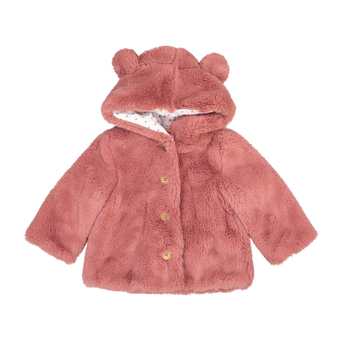 Cappotto effetto pelliccia con cappuccio 3 mesi-3 anni