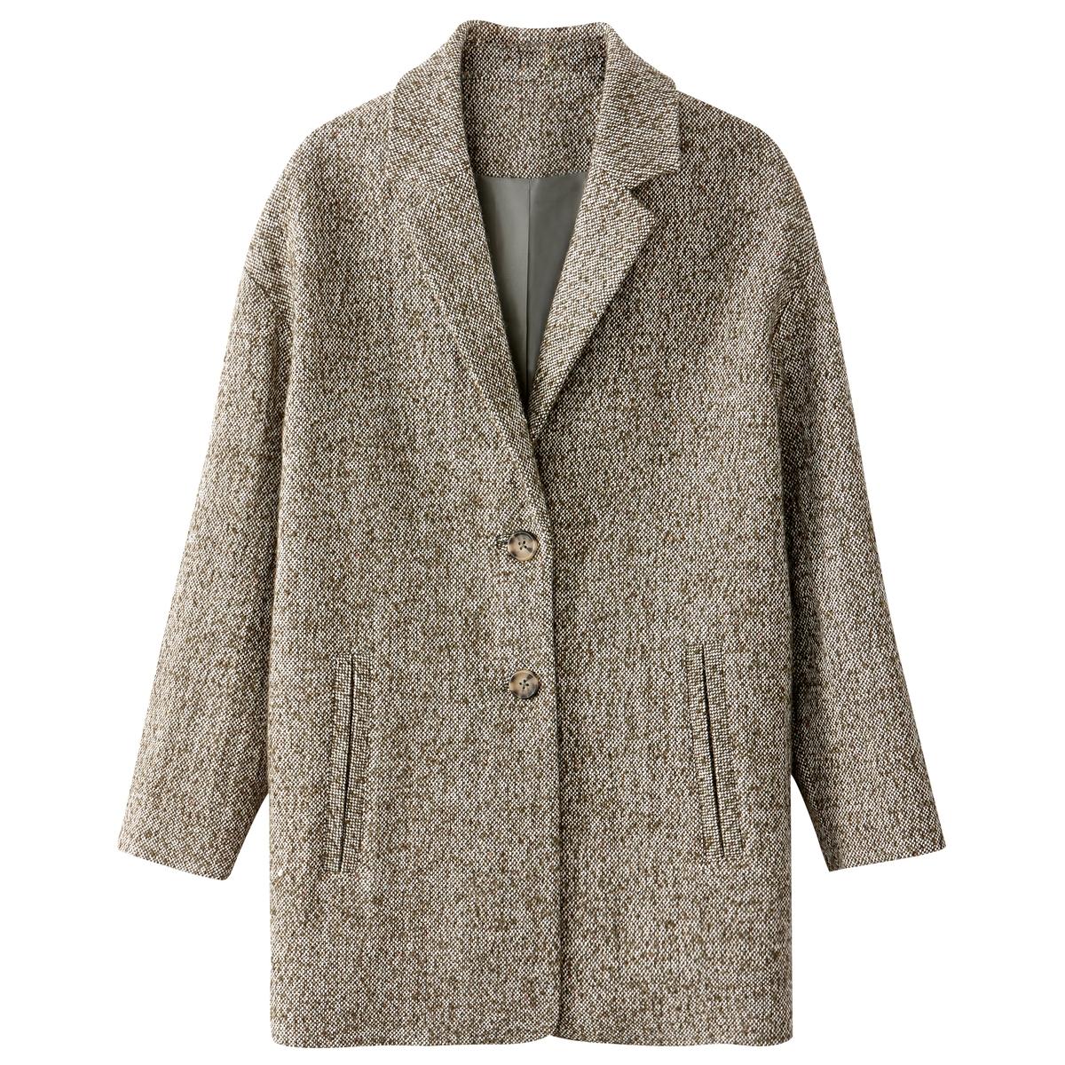 Пальто овальной формыСтильное объемное пальто из смесовой шерсти . Застежка на пуговицы. Полностью на подкладке. Карманы по бокам.Детали •  Длина : средняя •   V-образный вырез • Застежка на пуговицыСостав и уход •  41% шерсти, 3% полиамида, 56% полиэстера •  Подкладка : 100% полиэстер • Не стирать • •  Любые растворители / не отбеливать   •  Не использовать барабанную сушку   •  Не гладить •  Длина : 82 см<br><br>Цвет: зеленый хаки<br>Размер: 34 (FR) - 40 (RUS).44 (FR) - 50 (RUS).40 (FR) - 46 (RUS).38 (FR) - 44 (RUS).46 (FR) - 52 (RUS)