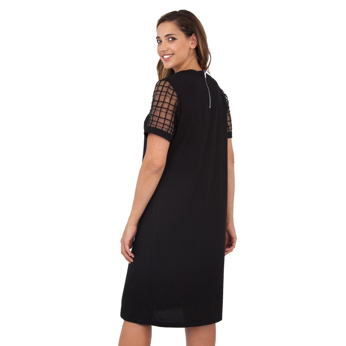 ПлатьеПлатье с короткими рукавами - LOVEDROBE.  Застежка на молнию сзади. Длина ок.104 см. 100% полиэстера.<br><br>Цвет: черный<br>Размер: 46 (FR) - 52 (RUS)