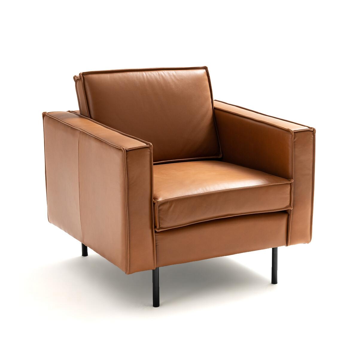 Кресло LaRedoute Из кожи Peter единый размер каштановый