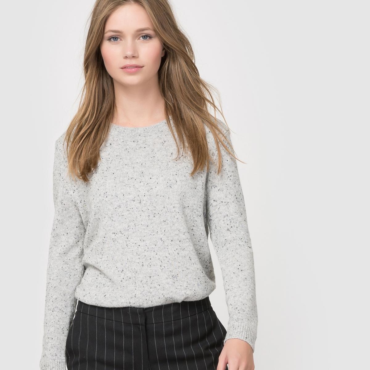 Пуловер из трикотажа в крапинку, 52% шерсти