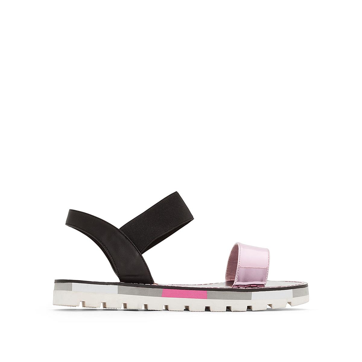 Босоножки MadagascarВерх/Голенище : синтетика  Подкладка : синтетика  Стелька : синтетика  Подошва : каучук   Форма каблука : плоский каблук  Мысок : закругленный мысок  Застежка : без застежки<br><br>Цвет: черный/ розовый<br>Размер: 40