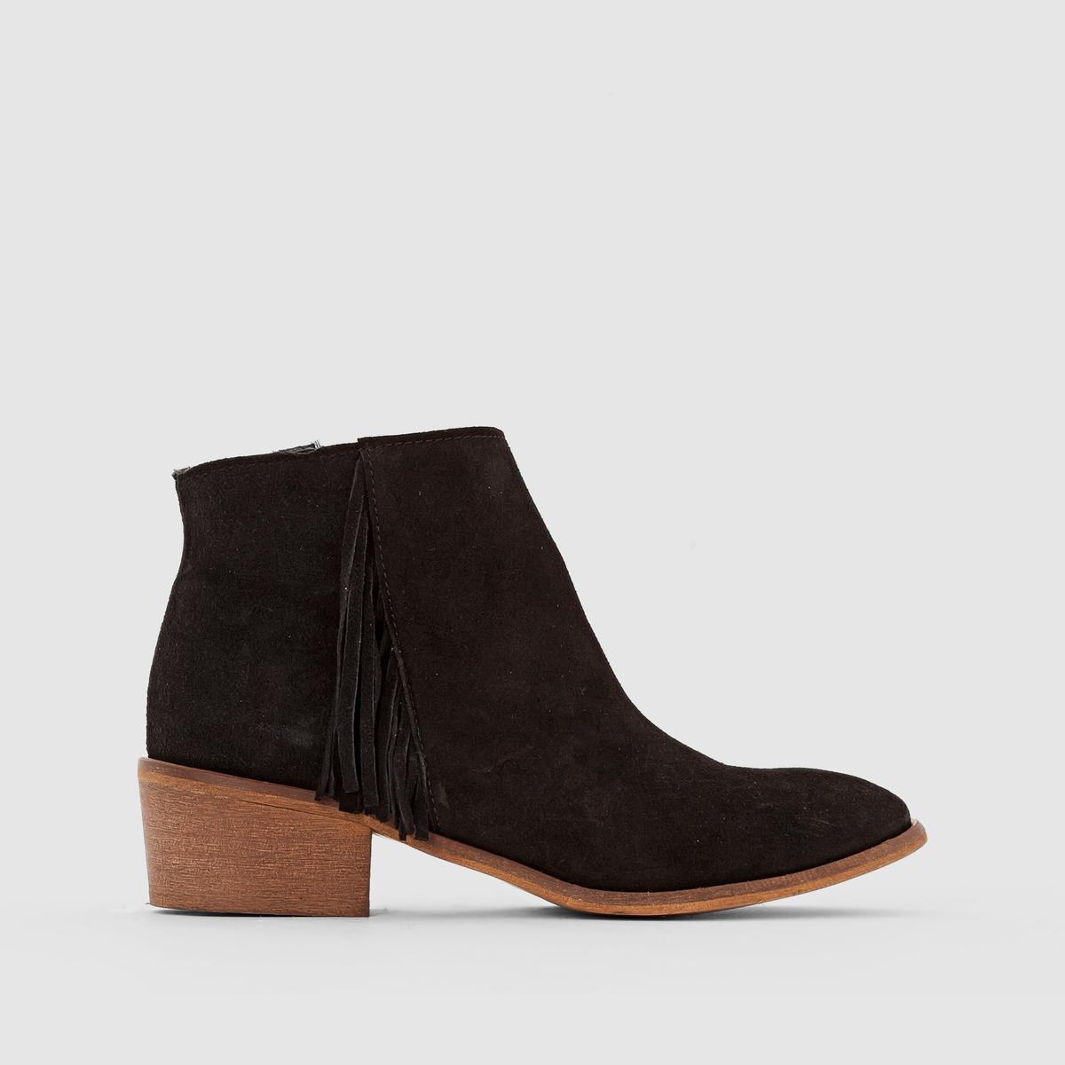 Ботинки кожаные с бахромой от La Redoute Collections