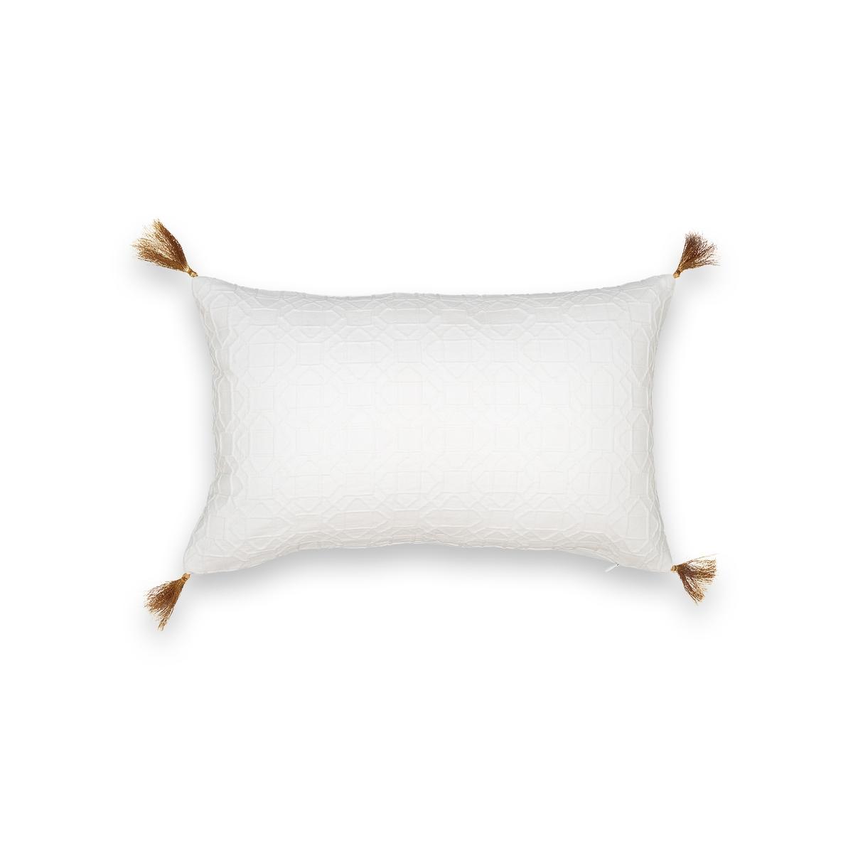 Чехол на подушку-валик HerseloЧехол на подушку-валик Herselo. Жаккардовый рисунок в тон, красивая отделка кисточками из золотистых нитей по 4 углам. 100% хлопок. Скрытая застежка на молнию. Размер : 50 x 30 см. Стирать при 30° на деликатном режиме. Подушка продается отдельно.<br><br>Цвет: белый,зеленый