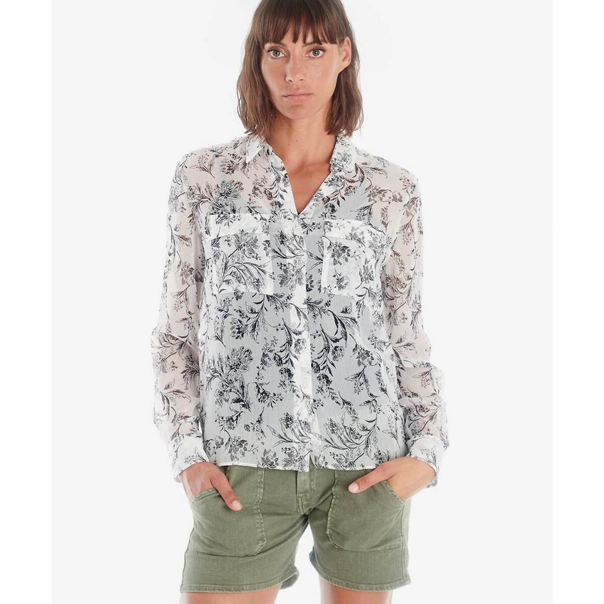 Блузка LaRedoute Прямого покроя с рисунком S белый блузка laredoute прямого покроя с бахромой l бежевый