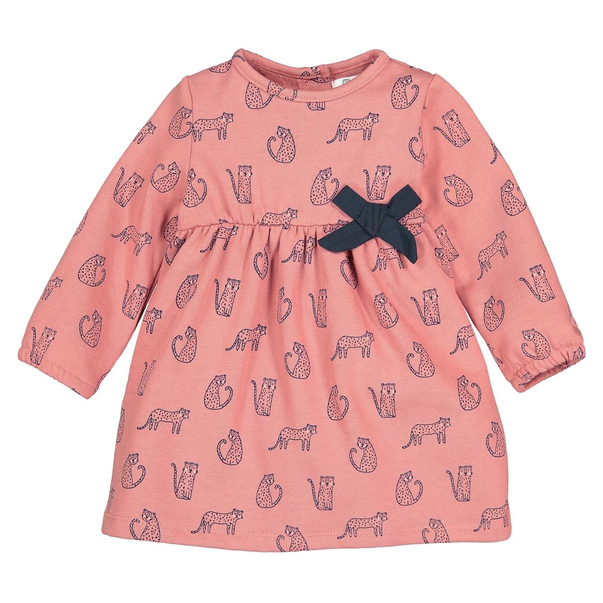 Платье La Redoute Из мольтона с леопардовым принтом мес - лет 6 мес. - 67 см розовый футболка с принтом 1 мес 4 лет