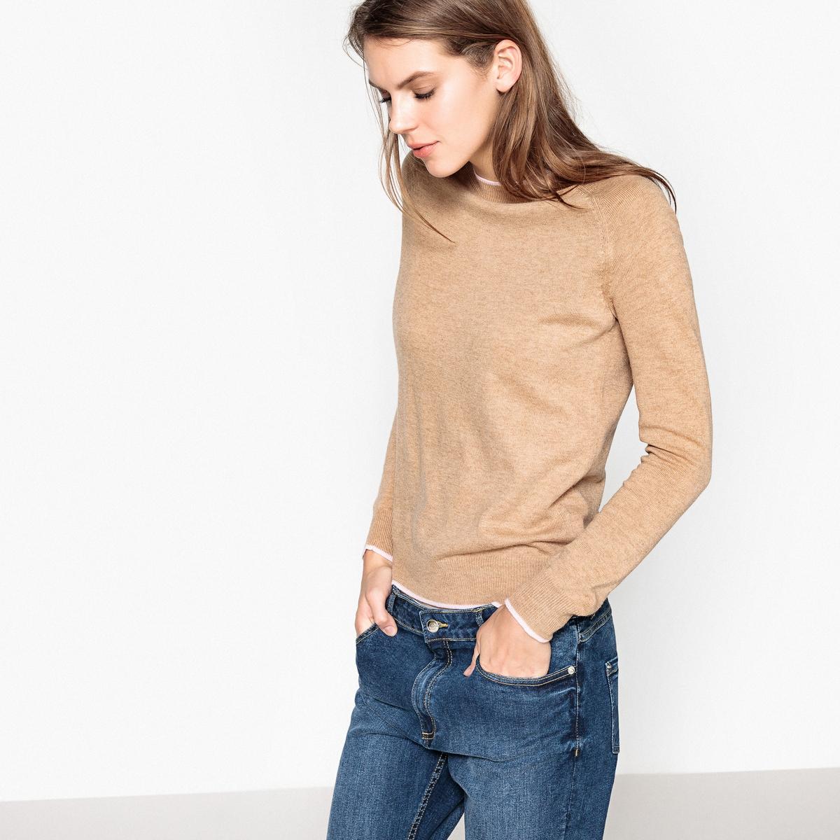 Пуловер шерстяной с контрастными краями