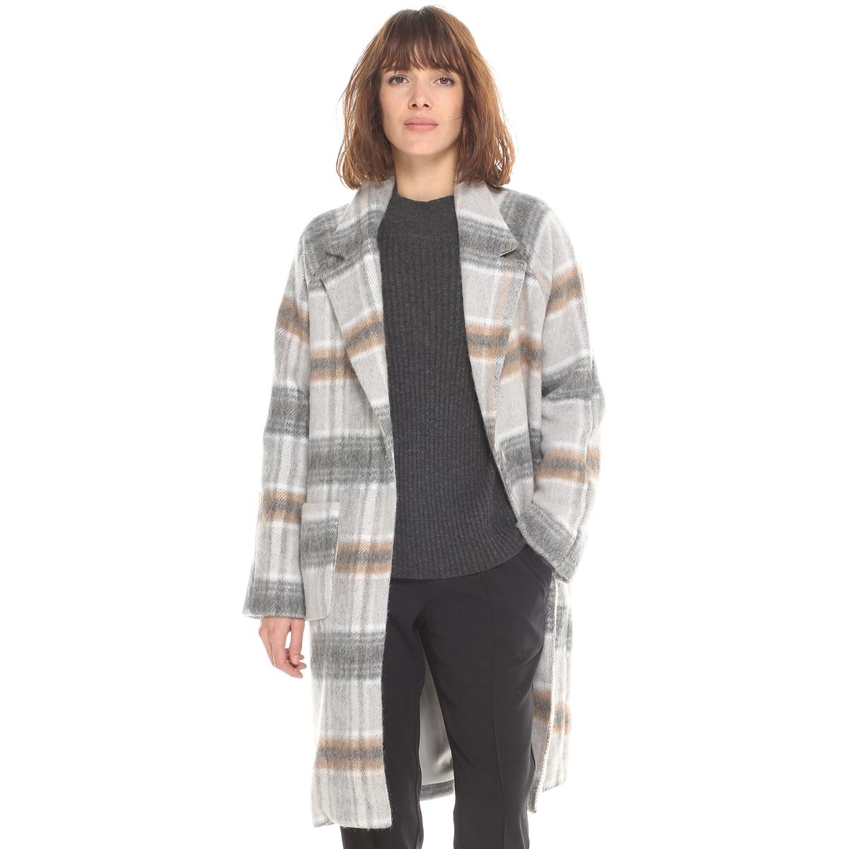 Пальто-халат женское длинное в клетку драповое длинное пальто из шерсти claudius