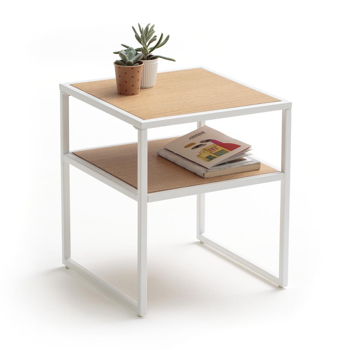 Столик прикроватный с двойной столешницей  ELYOУтонченный прикроватный столик ELYO с двумя столешницами.Описание прикроватного столика ELYO :Двухцветный прикроватный столик с 2 столешницамиХарактеристики прикроватного столика ELYO :2 столешницыМеталлический каркас с лаковым эпоксидным покрытием.Столешницы из МДФ цвета дуба с ПУ отделкойДругие модели прикроватных столиков данной коллекции Вы найдете на laredoute.ruРазмеры прикроватного столика  ELYO :Общие :Ширина 35 смГлубина 35 см.Высота 40 см.Доставка :1 коробка47 x 42 x 16 смВес 5,7 кг<br><br>Цвет: белый/дерево