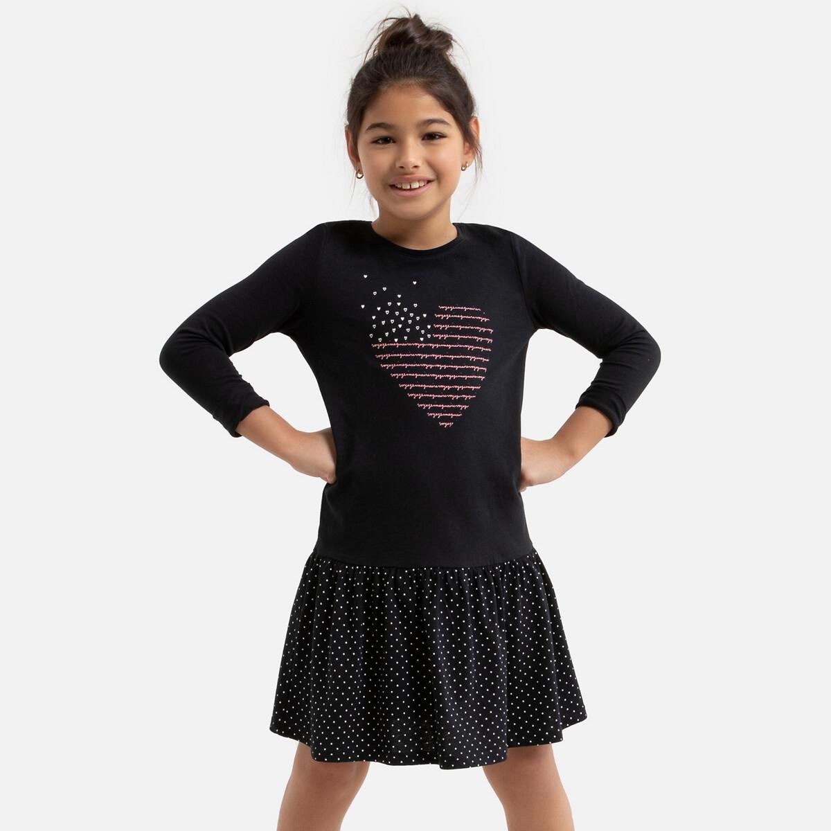 Платье La Redoute С рисунком сердце 8 лет - 126 см черный юбка la redoute расклешенная с принтом 8 лет 126 см другие