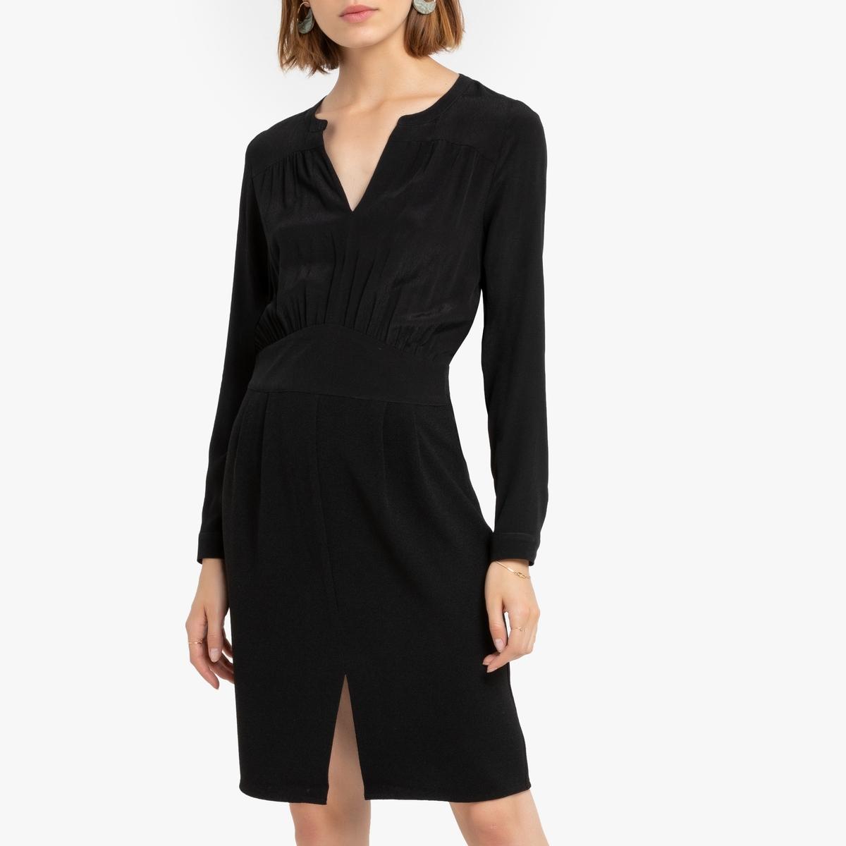 Платье La Redoute С длинными рукавами и V-образным вырезом Rangels XS черный футболка la redoute кружевная с v образным вырезом и рукавами l черный