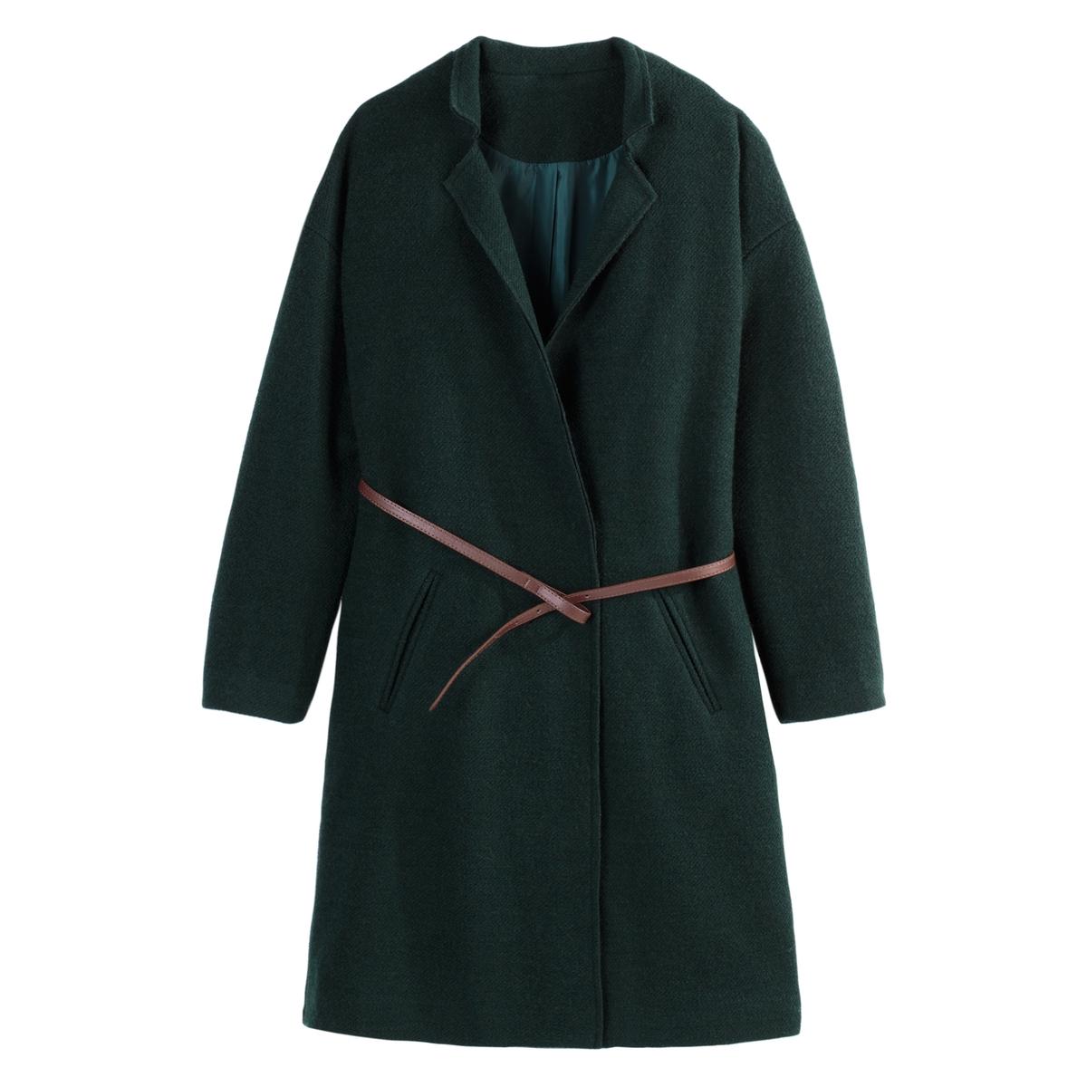 Abrigo con cinturón y corte recto, de mezcla de lana