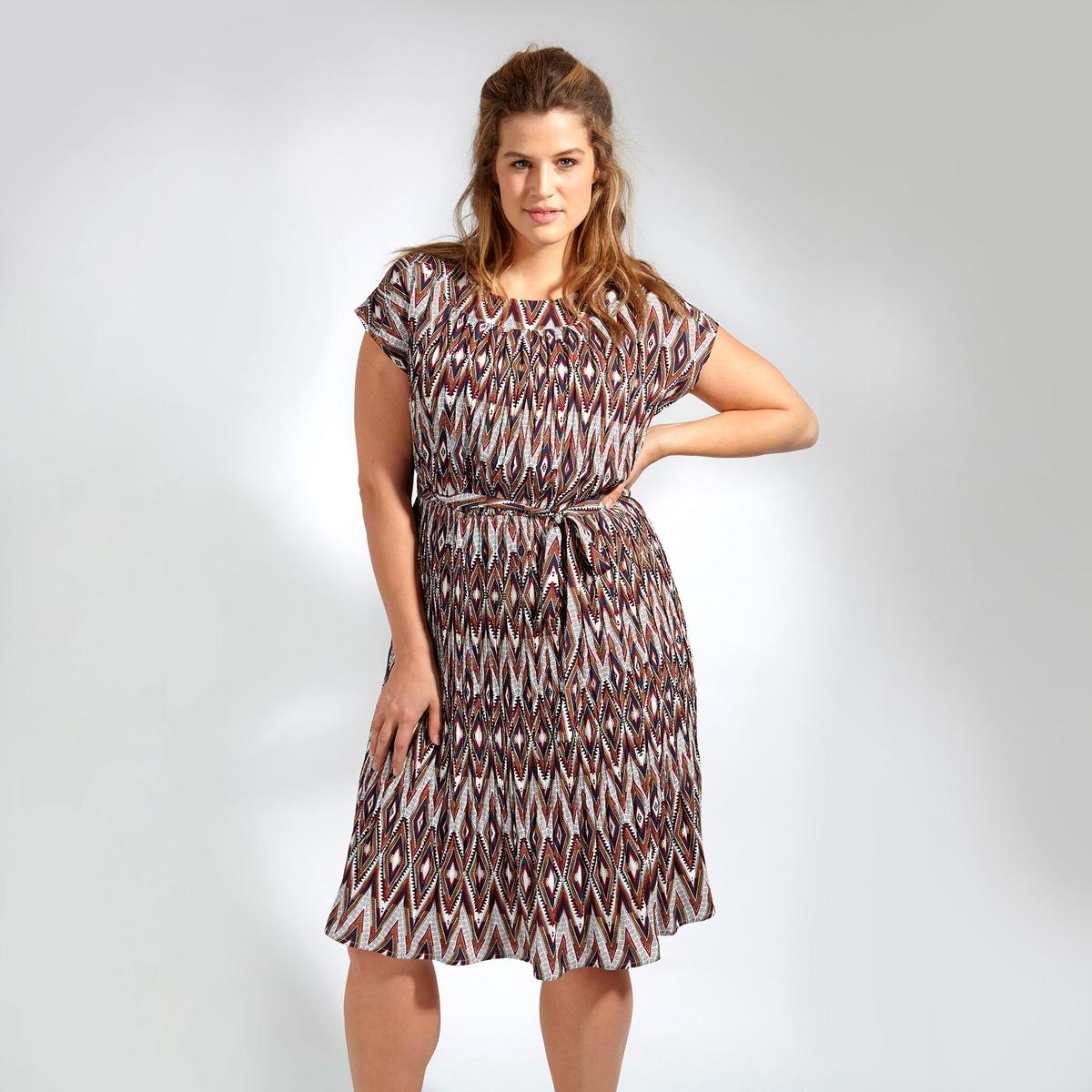 ПлатьеПлатье с короткими рукавами KOKO BY KOKO. Круглый вырез. 100% полиэстер<br><br>Цвет: набивной рисунок<br>Размер: 48 (FR) - 54 (RUS)