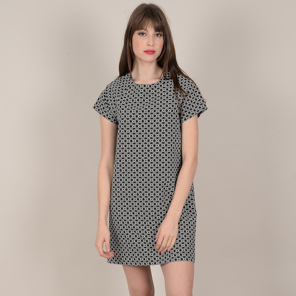 Платье La Redoute Короткое прямое с рисунком и короткими рукавами M черный