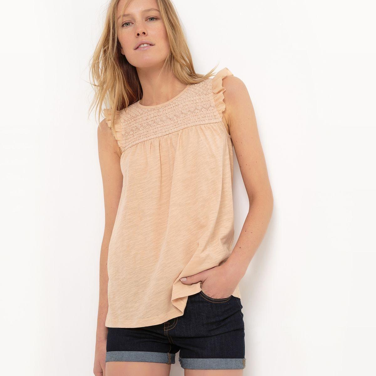 T-shirt à smock, manches volantées