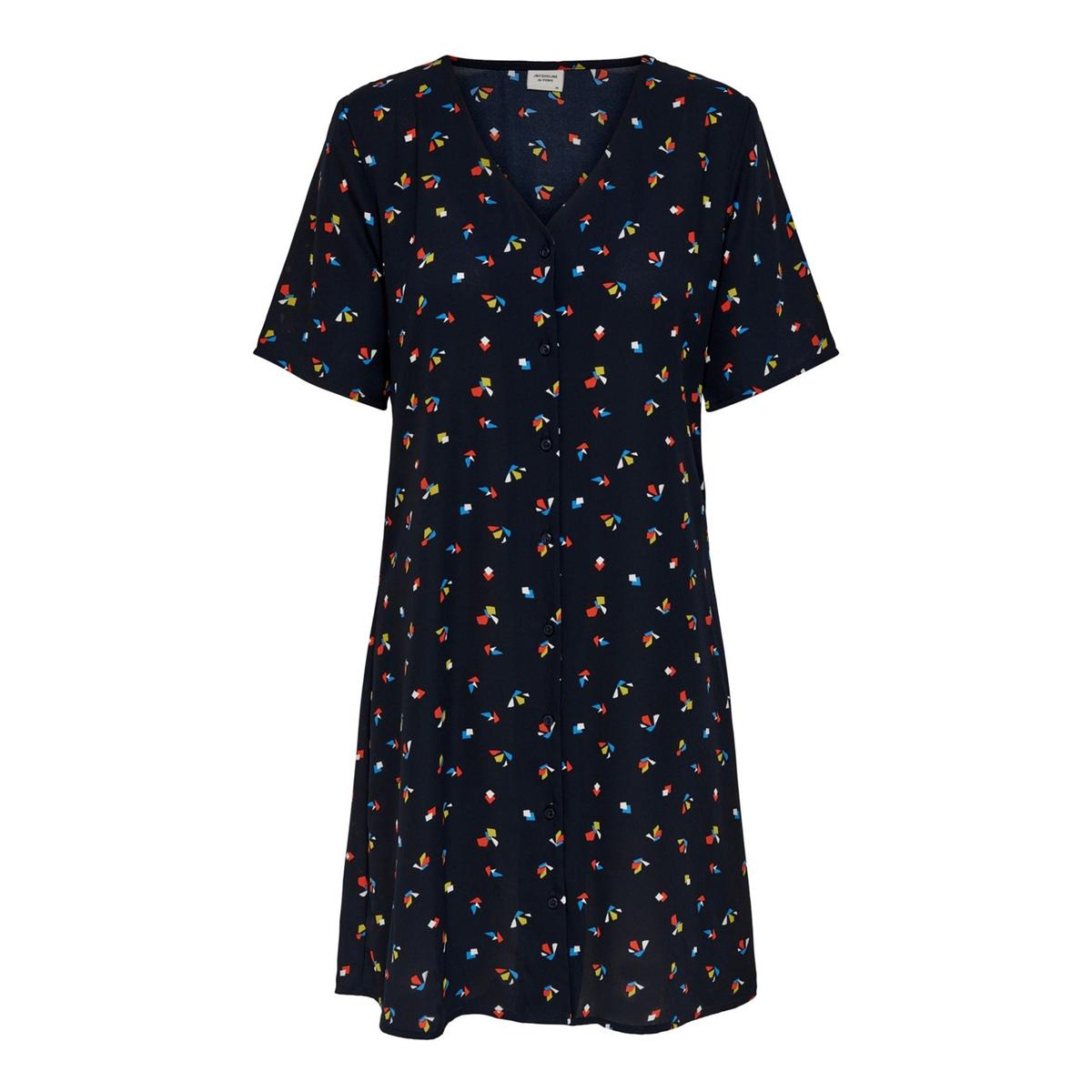 Платье La Redoute Короткое с цветочным рисунком и короткими рукавами 34 (FR) - 40 (RUS) синий платье la redoute прямое с цветочным рисунком и короткими рукавами 36 fr 42 rus зеленый