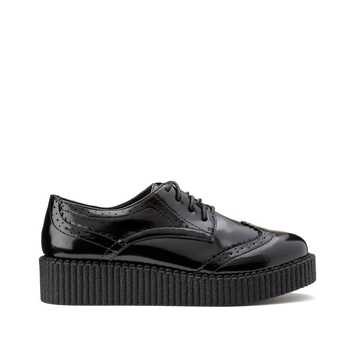 Фото - Ботинки LaRedoute Дерби-криперы 37 черный ботинки дерби laredoute с зеркальным эффектом на танкетке 39 серебристый