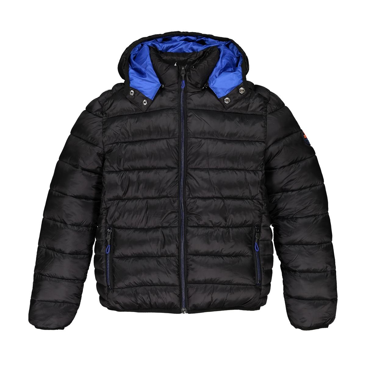 Куртка La Redoute Стеганая с капюшоном 10 лет - 138 см черный шорты la redoute пляжные с рисунком 10 лет 138 см черный