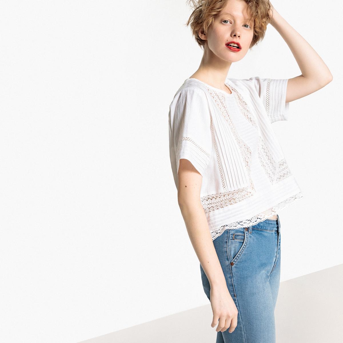 Blusa de encaje con pliegues, algodón y lino