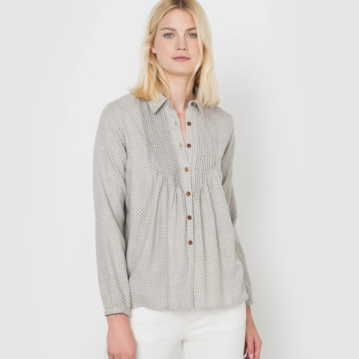 Рубашка из фланели с микрорисунком в горошек