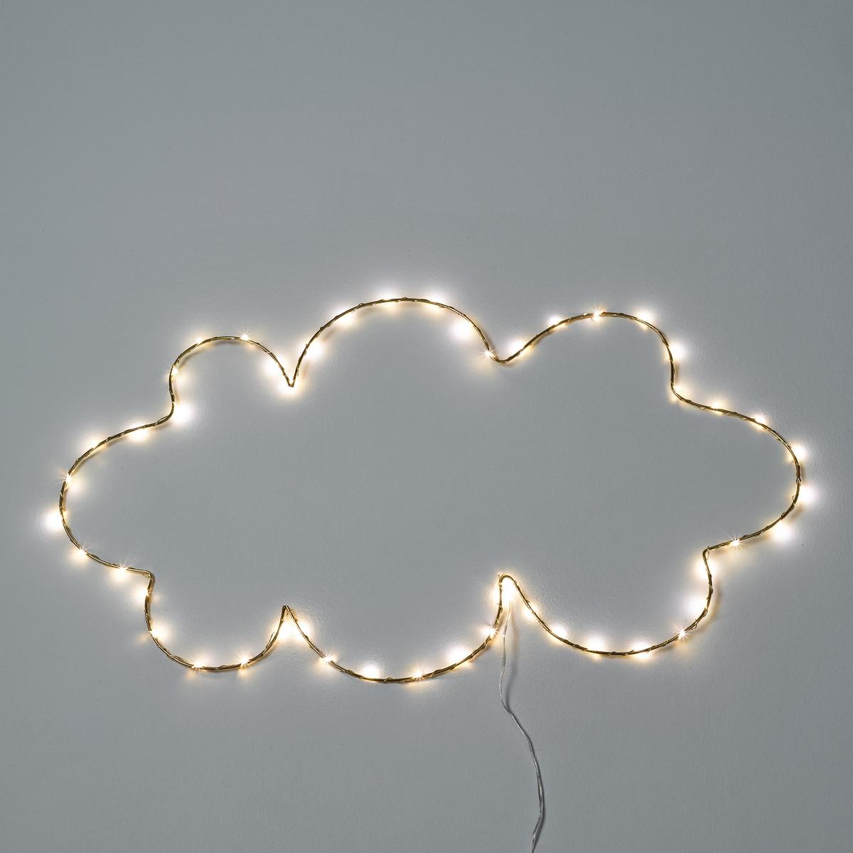 Светодиодный светильник в форме облака OmaraСветильник Omara. Светящаяся гирлянда в форме облака. Поэтичный и декоративный светильник понравится малышам.Характеристики :- 50 миниатюрных светодиодов, 3 В, на металлическом кабеле- Не нагревается- Несменные лампы- Поставляется с адаптером 220 В, длина провода 3 м. - Без выключателя   Размеры :- Ш.40 x В.70 x Г.0,5 см.<br><br>Цвет: латунь