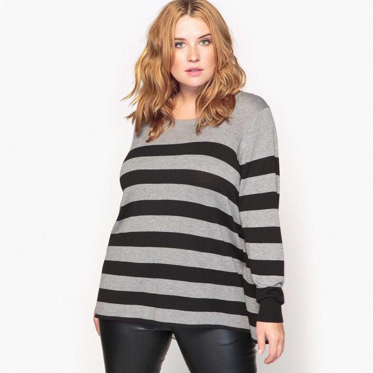 Пуловер в полоску с круглым вырезом и оригинальной спинкой футболка в полоску с круглым вырезом