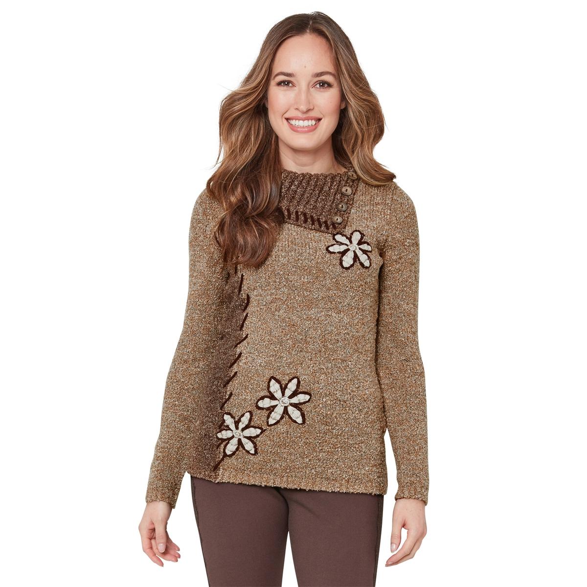 Пуловер La Redoute С длинными рукавами цветочным рисунком и вырезом с застежкой на пуговицы 36 (FR) - 42 (RUS) бежевый