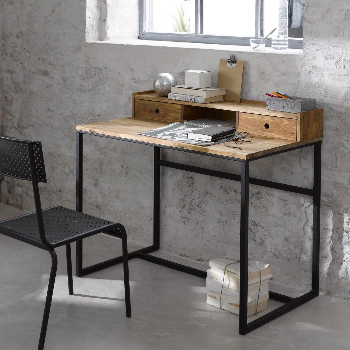 Стол LaRedoute Письменный из дуба и металла с маленькой надставкой Hiba единый размер черный