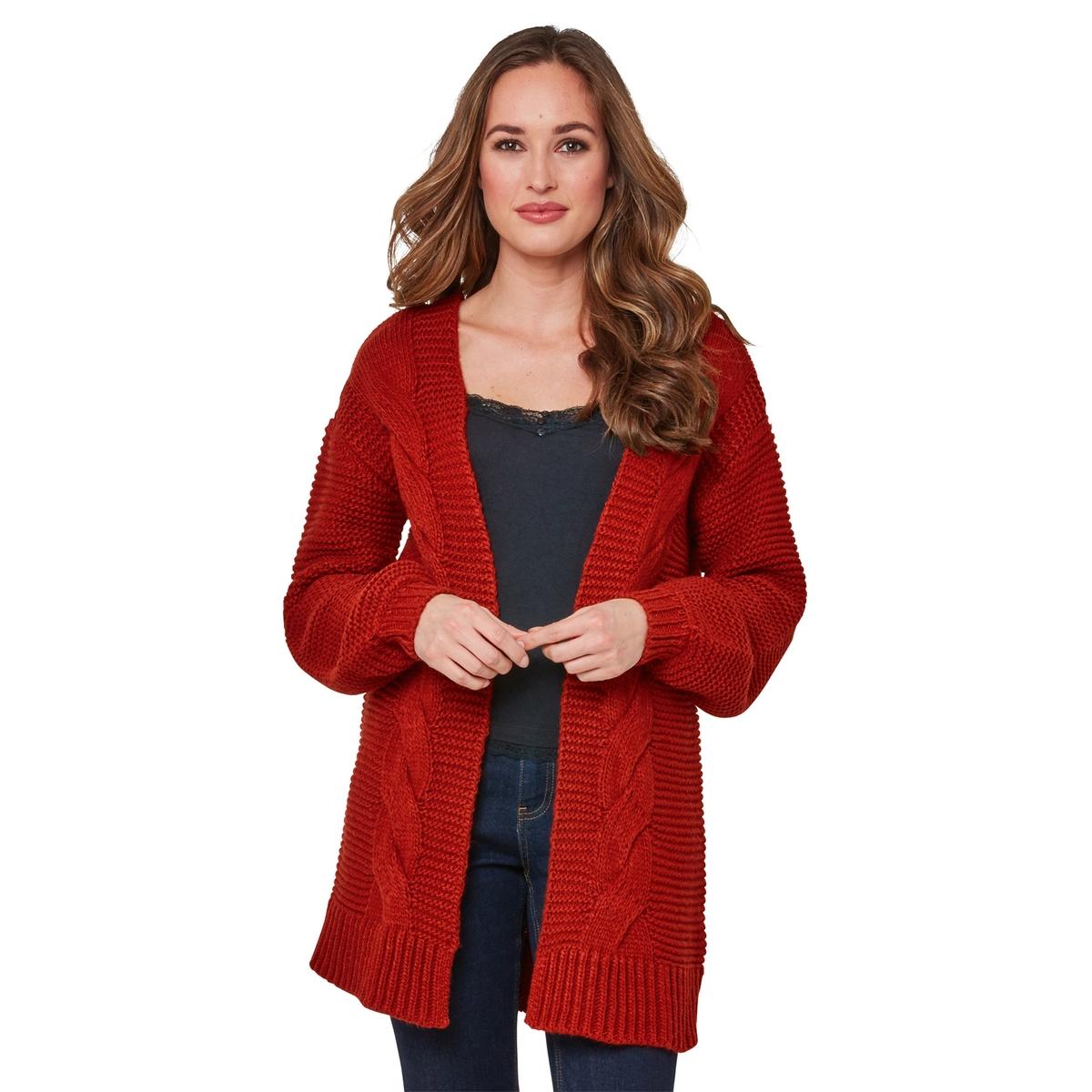 Кардиган La Redoute Средней длины из плотного трикотажа с узором косы 44 (FR) - 50 (RUS) красный цены