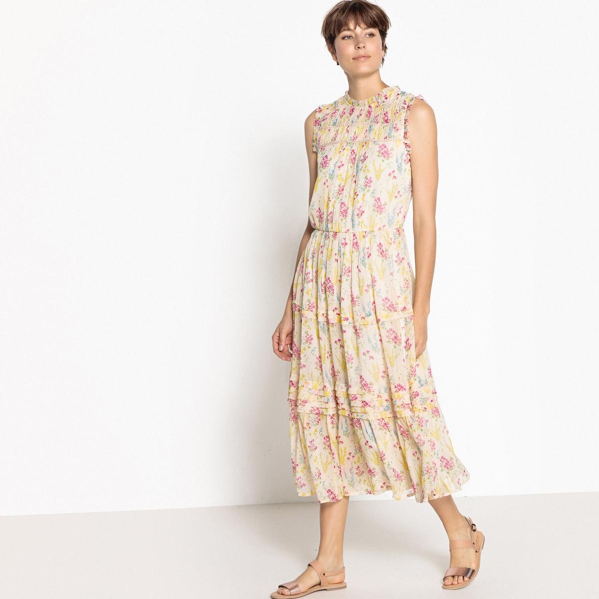 Платье без рукавов, длина миди, цветочный принт
