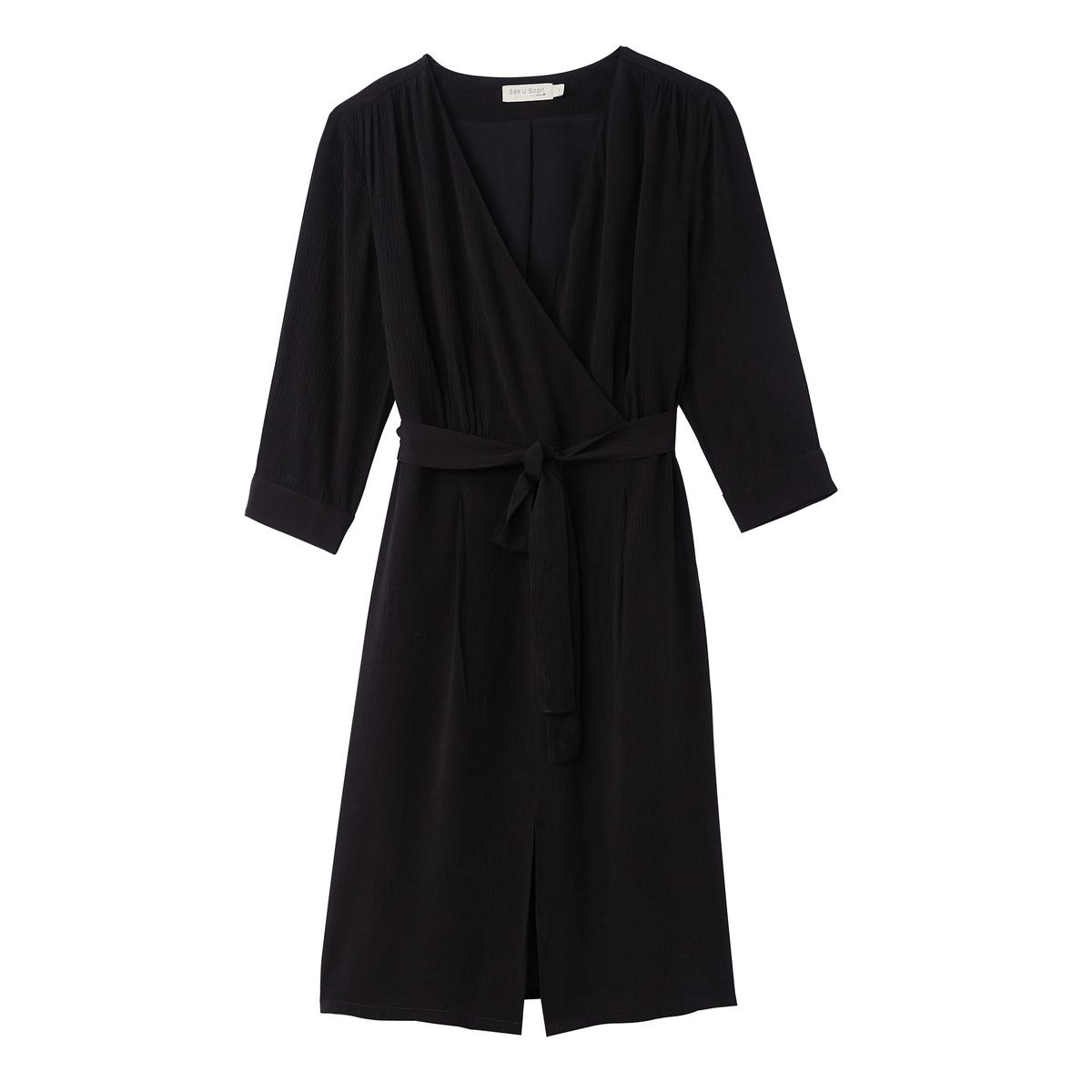 Платье с запахом, средняя длина, рукава 3/4 платье с запахом vestido negro maqi