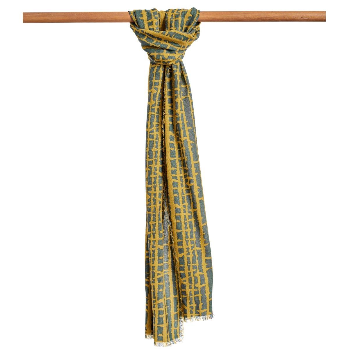 Foulard imprimé 'abstract' pure laine