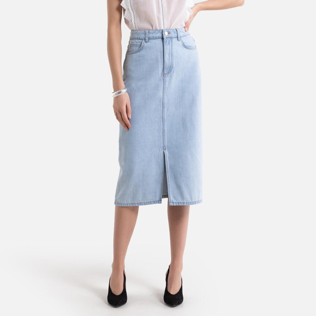 Falda recta de denim, semilarga