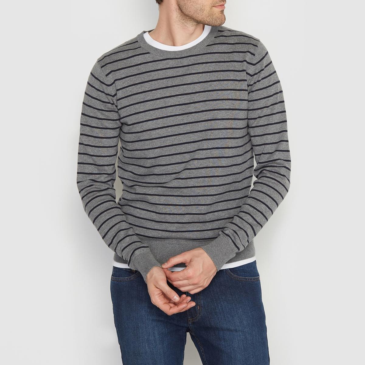 Пуловер в полоску 100% хлопокПуловер двухцветный в полоску с длинными рукавами. Прямой покрой, круглый вырез. Края низа и рукавов связаны в рубчик. Состав &amp; ДеталиМатериал : 100% хлопкаМарка : R essentiel.<br><br>Цвет: темно-синий в полоску серый меланж<br>Размер: XXL.3XL