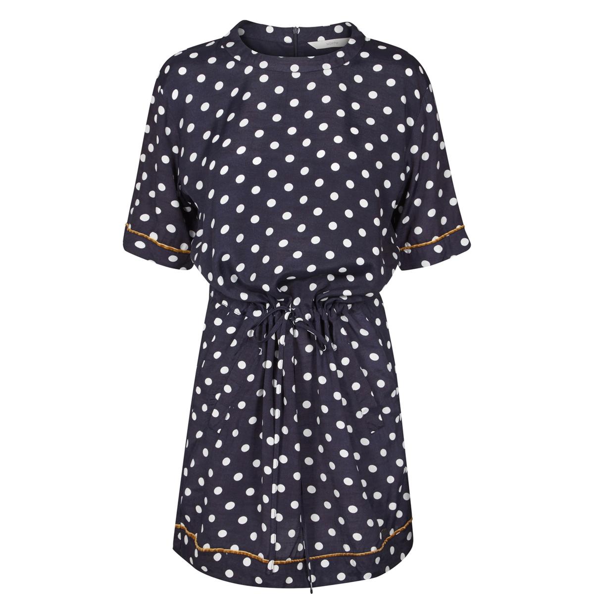 где купить Платье в горох с короткими рукавами и круглым вырезом по лучшей цене