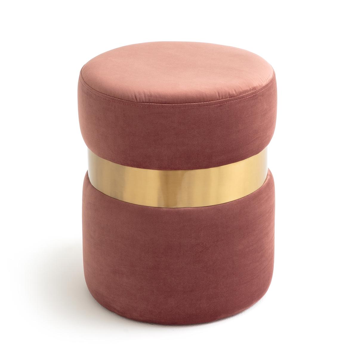 Пуф LaRedoute Велюровый LUXORE единый размер розовый