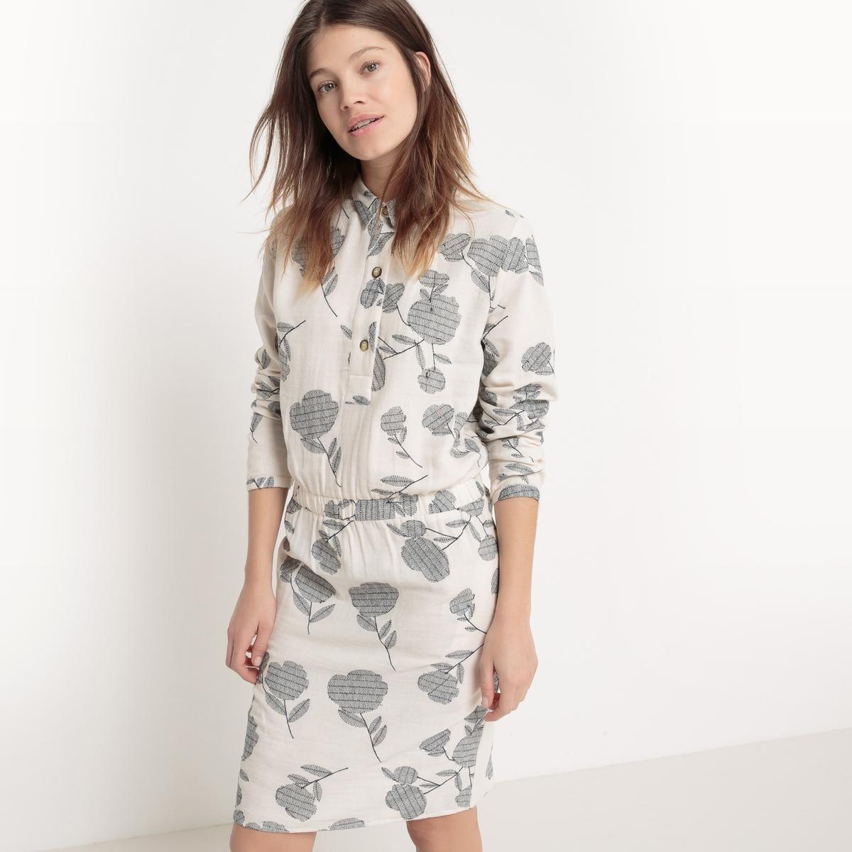 Платье с рубашечным воротником, длина до колен, с рисункомМатериал : 100% хлопок                     Длина рукава : длинные рукава                    Особенность пояса : эластичный пояс                    Форма воротника : воротник-поло, рубашечный                 Покрой платья : расклешенное платье                    Рисунок : принт                      Длина платья : 94 см                    Стирка : машинная стирка при 30 °С в деликатном режиме                    Уход : сухая чистка и отбеливание запрещеныМашинная сушка : запрещена                    Глажка : при низкой температуре<br><br>Цвет: серо-бежевый<br>Размер: 38 (FR) - 44 (RUS).36 (FR) - 42 (RUS).42 (FR) - 48 (RUS).34 (FR) - 40 (RUS).44 (FR) - 50 (RUS)