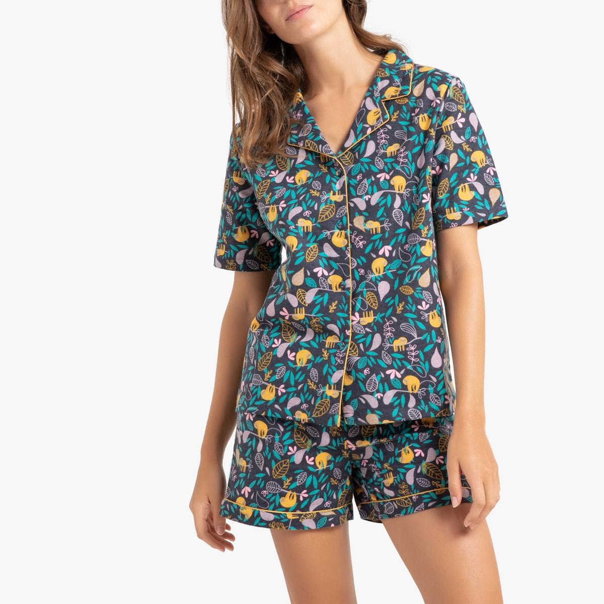 Pijama con short estampado de felpa 100% algodón