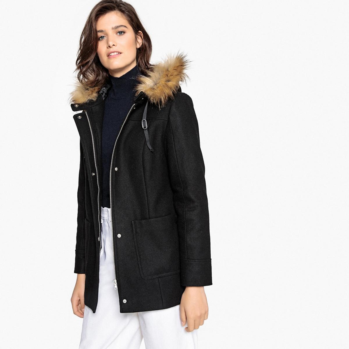 Пальто на молнии с капюшоном из полушерстяной ткани пальто из шерстяного драпа 70