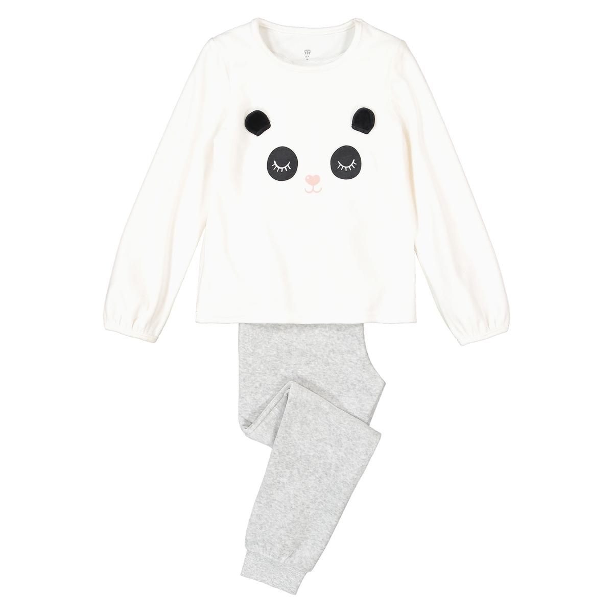 Pijama em veludo, com panda, 3-12 anos