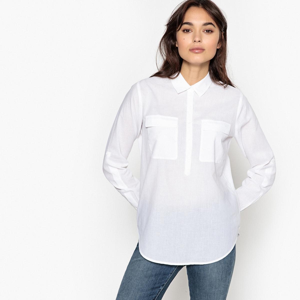 Рубашка однотонная с воротником-поло и длинными рукавамиОписаниеДетали •  Длинные рукава •  Воротник-поло, рубашечныйСостав и уход •  65% хлопк, 35% полиэстер •  Следуйте советам по уходу, указанным на этикетке<br><br>Цвет: белый,светло-розовый<br>Размер: XS.L.S