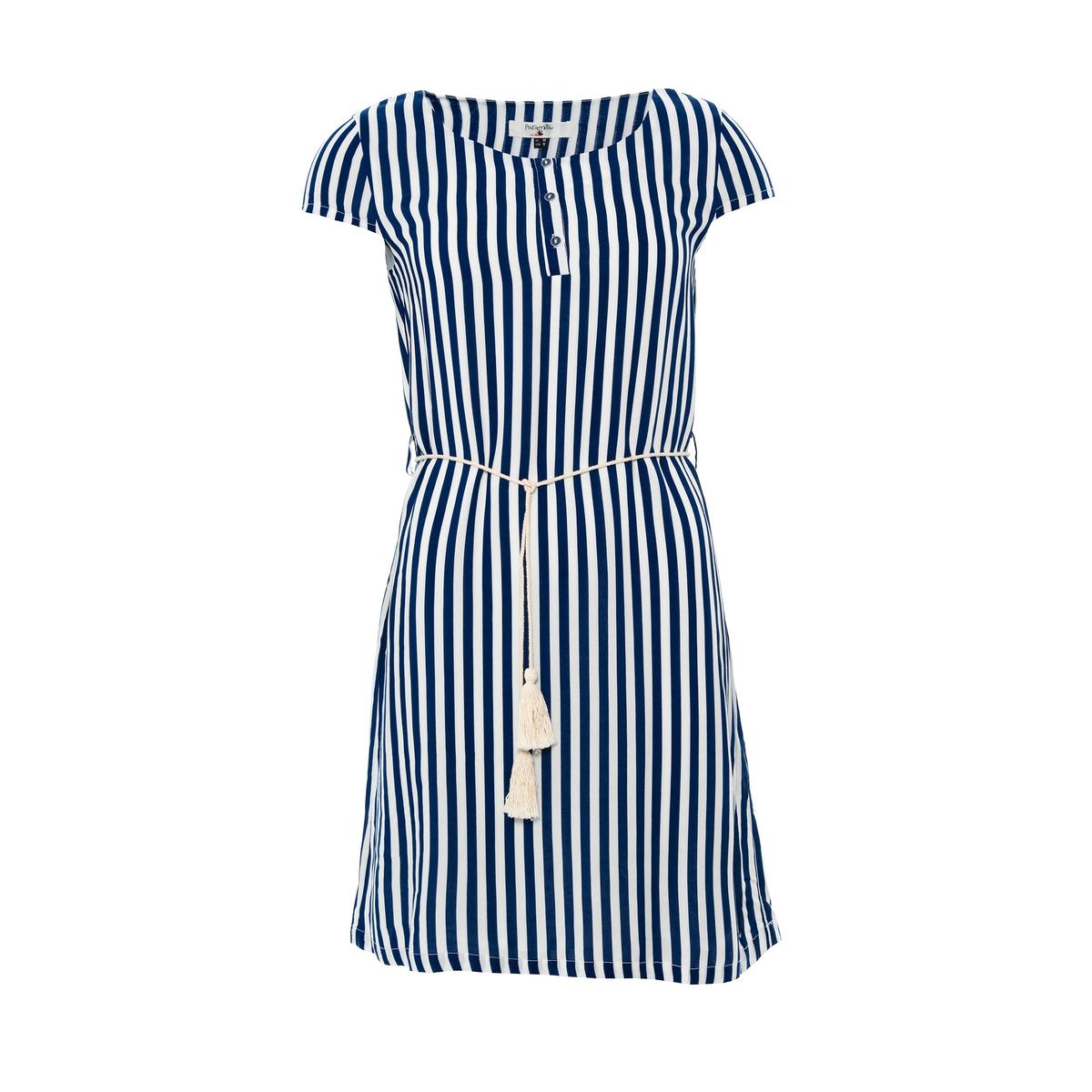 Платье с короткими рукавами в полоску и круглым вырезом, PARAMITAСостав и описание :Материал : 100% вискозыМарка : PARAMITA<br><br>Цвет: в бело-синюю полоску<br>Размер: L.M